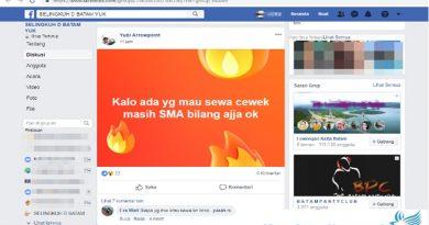 "Tawarkan Sewa Anak SMA Dalam Group ,"" SELINGKUH D BATAM YUK , "" Cyber Crime Polda Kepri Harus Bertindak"